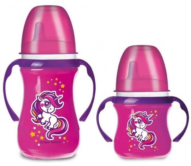 """Поильники """"EasyStart"""" пластиковые 2 штуки (в наборе: 120 мл (6m+, носик мягкий) и 240 мл (12m+, носик твердый), с ручками и носиком силиконовым (дизайн рисунка """"Сказки""""), 99/098, """"Canpol babies"""""""