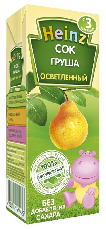 """Сок грушевый осветленный (без сахара) 200 мл """"Хайнц"""""""