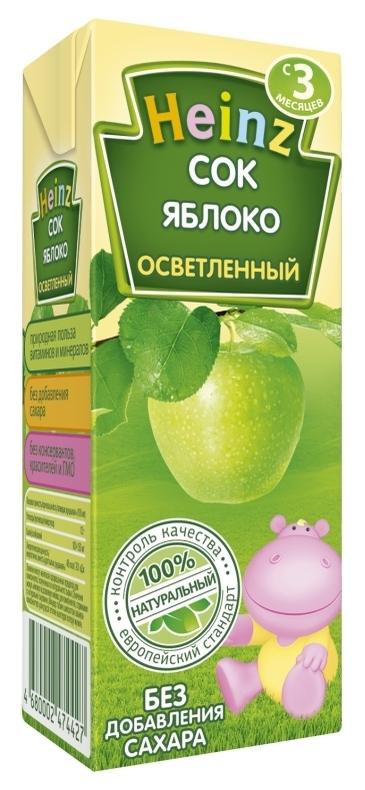 """Сок яблочный осветленный (без сахара) 200 мл """"Хайнц"""""""