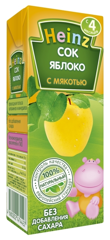 "Сок яблочный с мякотью (без сахара) 200 мл ""Хайнц"""