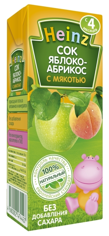 "Сок ""Яблоко-Абрикос (с мякотью, без сахара)"" 200 мл ""Хайнц"""