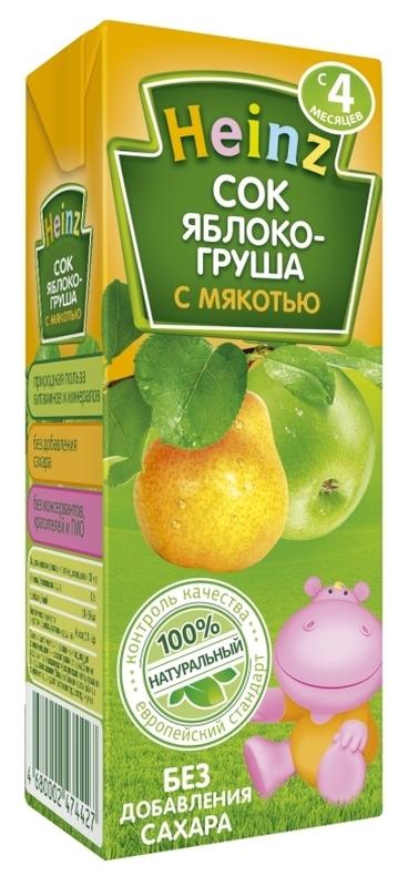 "Сок ""Яблоко-Груша (с мякотью, без сахара)"" 200 мл ""Хайнц"""