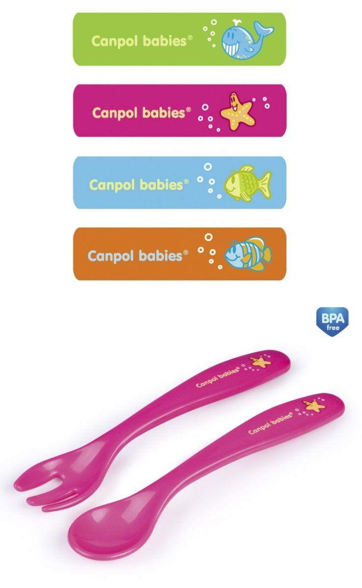 """Набор """"Ложка и вилка"""" (пластиковые, для кормления ребенка, цветные, с рисунком на ручке, дизайн рисунка """"Морские животные""""), 2/581, """"Canpol babies"""""""