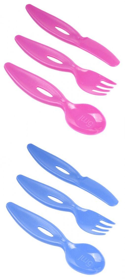 """Набор """"Ложка, вилка, нож"""" (пластиковые, для кормления и обучения ребенка, серия """"BASIC boys & girls""""), 31/414, """"Canpol babies"""""""