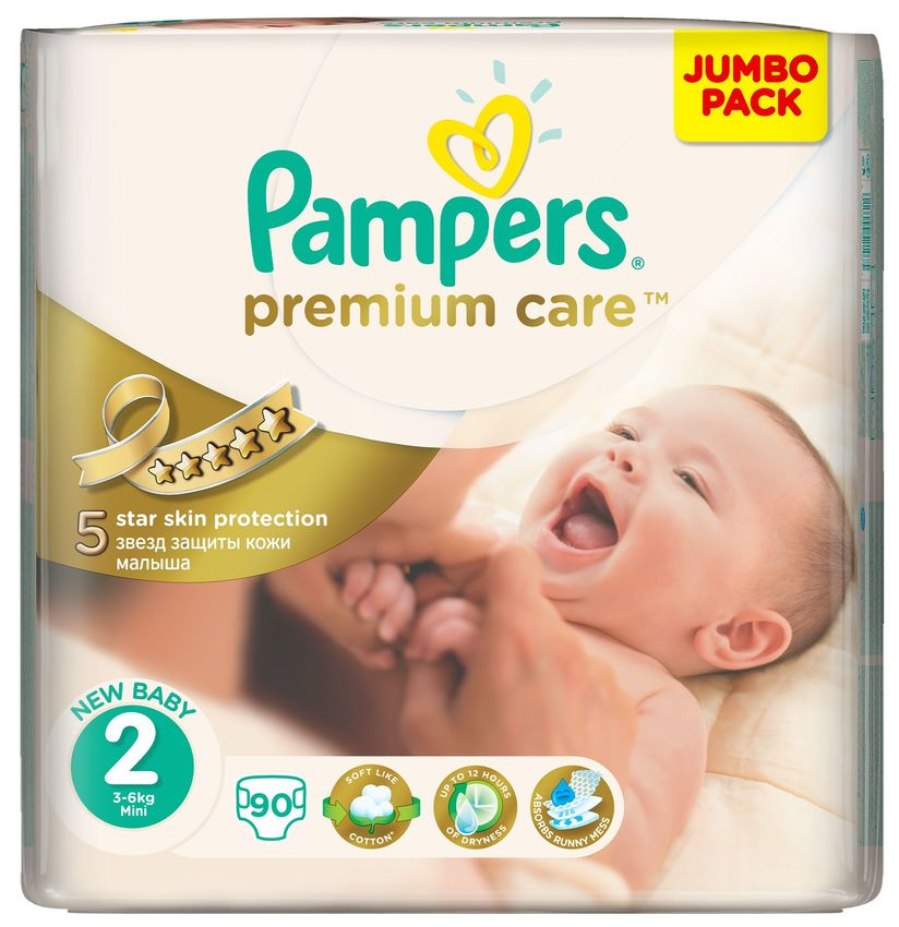 "Подгузники Памперс ""Pampers premium care new baby №2 (3-6 кг)"" 90 штук в упак."