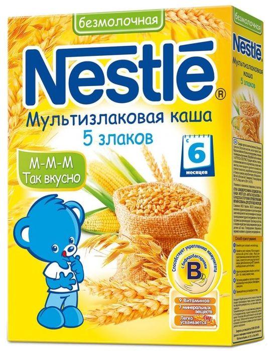 """""""Нестле"""" каша безмолочная """"5 злаков"""" (мультизлаковая (пшеница, гречка, рис, овес, кукуруза), без сахара, с мальтодекстрином, с бифидобактериями) 200,0"""