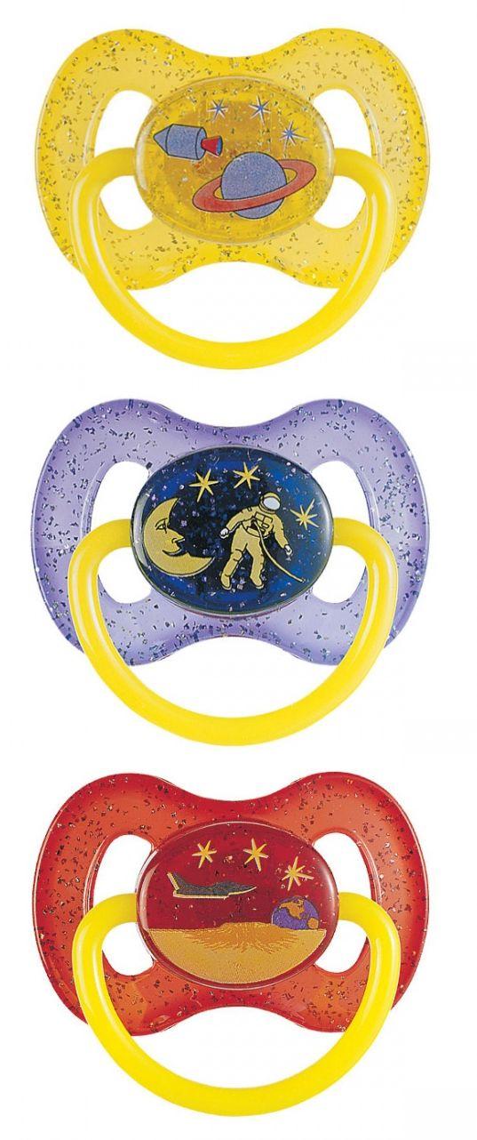 """Соска-пустышка силиконовая """"0-6m (А)"""" круглая (с кольцом, светящимся в темноте, и крышкой, дизайн """"Космос"""" (collection """"SPACE"""")), 23/255, """"Canpol babies"""""""