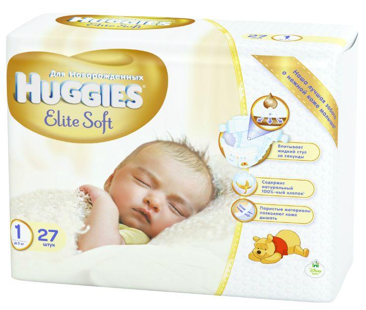 """Подгузники Хаггис """"Huggies Elite Soft NewBorn №1 (до 5 кг) для новорожденных"""" 27 штук в упак."""