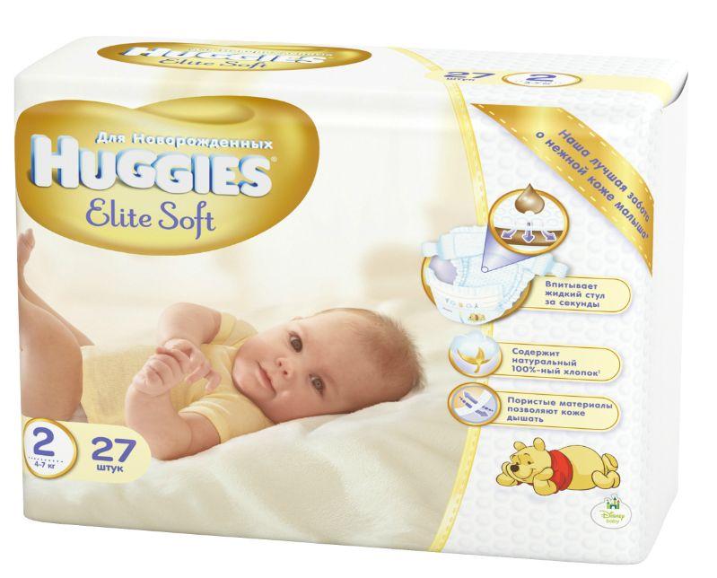 """Подгузники Хаггис """"Huggies Elite Soft NewBorn №2 (4-7 кг) для новорожденных"""" 27 штук в упак."""