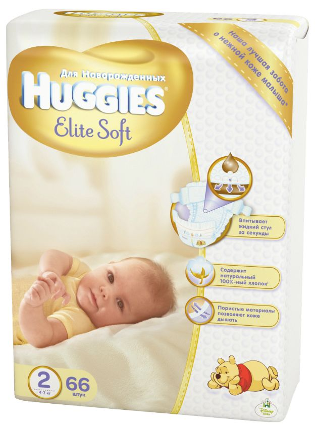 """Подгузники Хаггис """"Huggies Elite Soft NewBorn №2 (4-7 кг) для новорожденных"""" 66 штук в упак."""