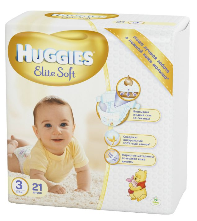 "Подгузники Хаггис ""Huggies Elite Soft №3 (5-9 кг)"" 21 штука в упак."