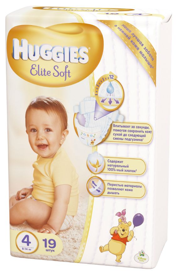 "Подгузники Хаггис ""Huggies Elite Soft №4 (8-14 кг)"" 19 штук в упак."