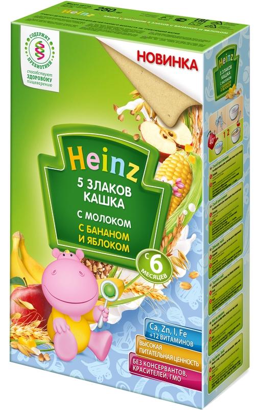 """""""Хайнц"""" каша """"Heinz"""" молочная """"5 злаков кашка с молоком с бананом и яблоком (с пребиотиками)"""" 250,0"""