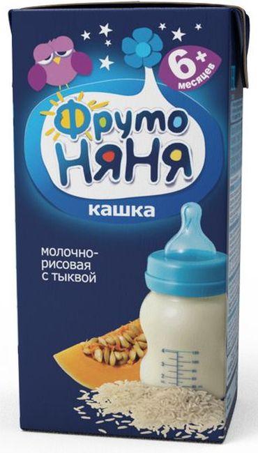 """""""Фрутоняня"""" каша жидкая молочная """"Кашка молочно-рисовая с тыквой"""" 200 мл (готовая к употреблению, с пребиотиками, без соли и сахара, с фруктозой)"""