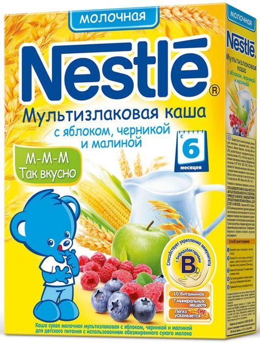 """""""Нестле"""" каша молочная """"Мультизлаковая с яблоком, черникой и малиной"""" ((пшеница, гречка, рис, овес, кукуруза), без сахара, с бифидобактериями) 250,0"""