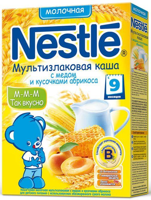 """Нестле"" каша молочная ""Мультизлаковая с медом и кусочками абрикоса"" ((пшеница, гречка, рис, овес, кукуруза), без сахара, с бифидобактериями) 250,0"