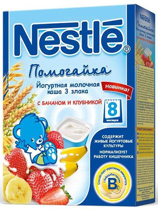 """""""Нестле"""" каша молочная йогуртная ПОМОГАЙКА """"3 злака с бананом и клубникой"""" ((пшеница, овес, рис), с сахаром, с бифидо- и лактобактериями) 200,0"""