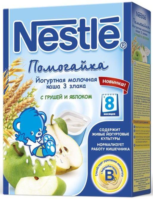 """""""Нестле"""" каша молочная йогуртная ПОМОГАЙКА """"3 злака с грушей и яблоком"""" ((пшеница, овес, рис), с сахаром, с бифидо- и лактобактериями) 200,0"""