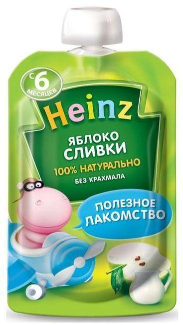"""Пюре """"Яблоко Сливки (с сахаром)"""" 90,0 """"Хайнц"""" (пауч-упаковка)"""