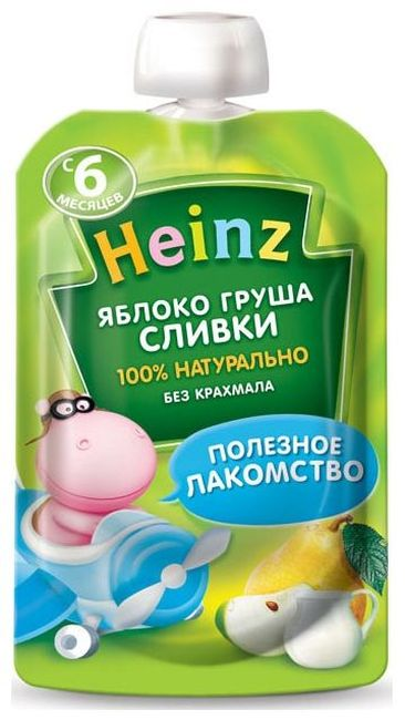 "Пюре ""Яблоко-Груша Сливки (с сахаром)"" 90,0 ""Хайнц"" (пауч-упаковка)"