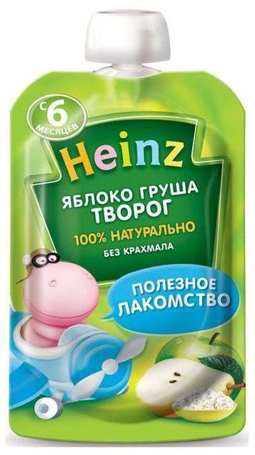 """Пюре """"Яблоко-Груша Творог (с сахаром)"""" 90,0 """"Хайнц"""" (пауч-упаковка)"""