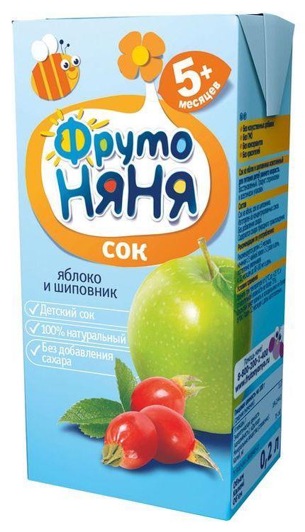 """Сок """"Яблоко-Шиповник (осветленный, без сахара)"""" 200 мл """"ФрутоНяня"""""""