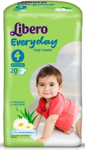 """Подгузники Либеро """"Libero Every day №4 (7-18 кг)"""" 20 штук в упак. (с экстрактом ромашки и алоэ)"""