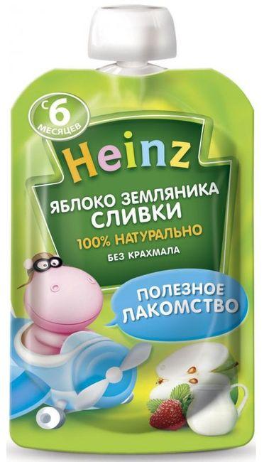 "Пюре ""Яблоко-Земляника Сливки (с сахаром)"" 90,0 ""Хайнц"" (пауч-упаковка)"