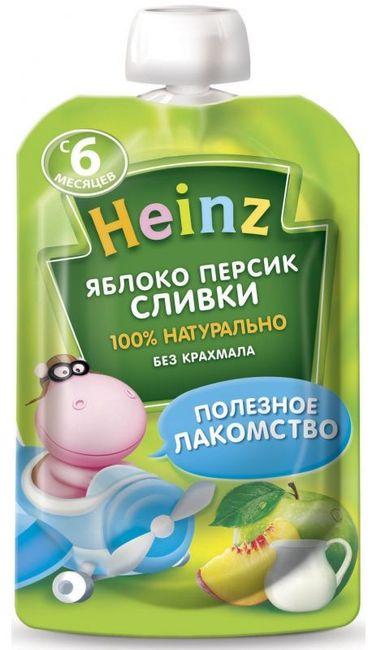 """Пюре """"Яблоко-Персик Сливки (с сахаром)"""" 90,0 """"Хайнц"""" (пауч-упаковка)"""