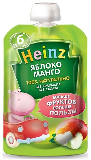 """Пюре """"Яблоко-Манго (без сахара, с вит.С)"""" 100,0 """"Хайнц"""" (пауч-упаковка)"""