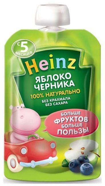 """Пюре """"Яблоко-Черника (без сахара, с вит.С)"""" 100,0 """"Хайнц"""" (пауч-упаковка)"""