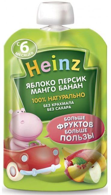 """Пюре """"Яблоко Персик Манго Банан (без сахара, с вит.С)"""" 100,0 """"Хайнц"""" (пауч-упаковка)"""