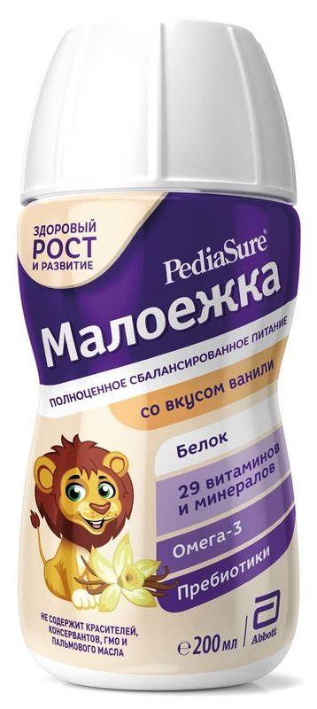 """Молочная смесь ПедиаШур """"PediaSure Малоежка (со вкусом ванили)"""" 200 мл (смесь жидкая, готовая к употреблению, в комплекте с трубочкой для питья)"""