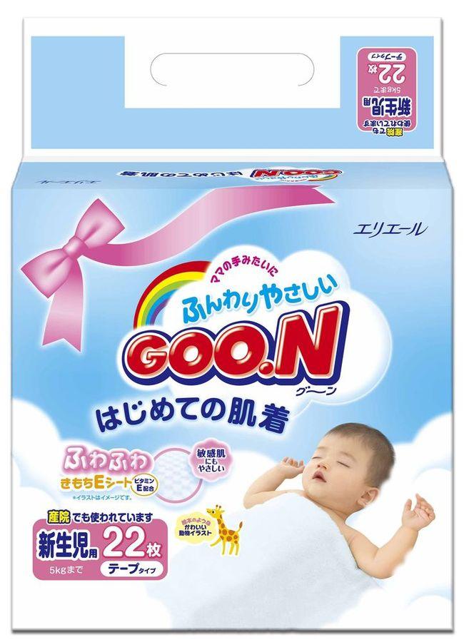 """Подгузники """"GOO.N (до 5 кг)"""" для новорожденных, 22 штуки в упак."""