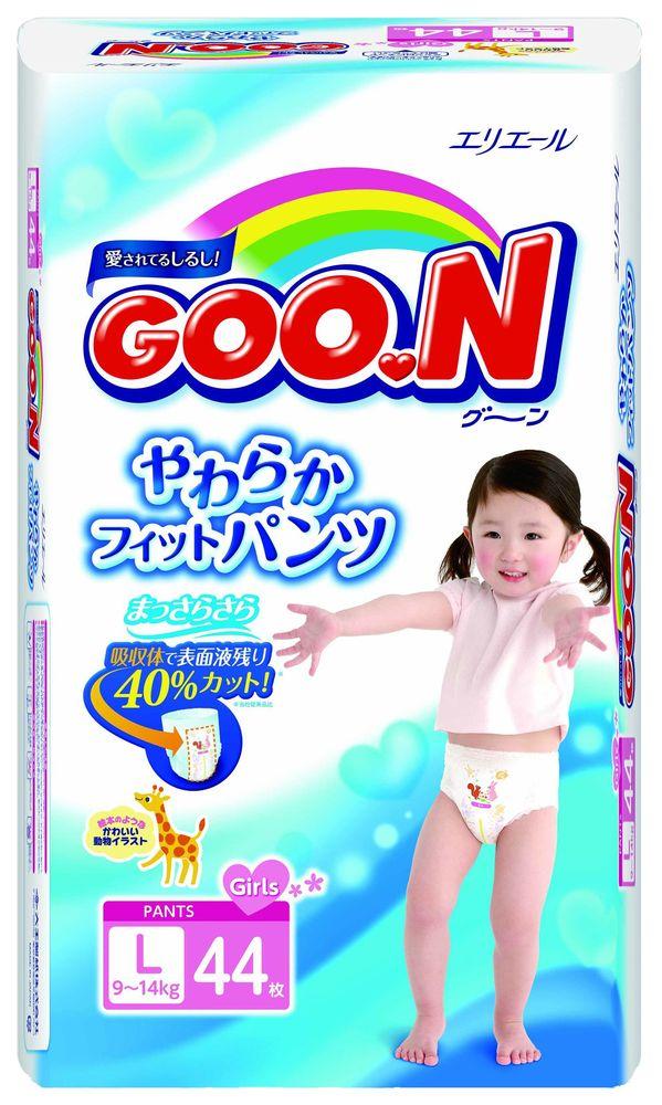 """Подгузники-трусики """"GOO.N (9-14 кг) L"""" 44 штуки в упак., для девочек"""