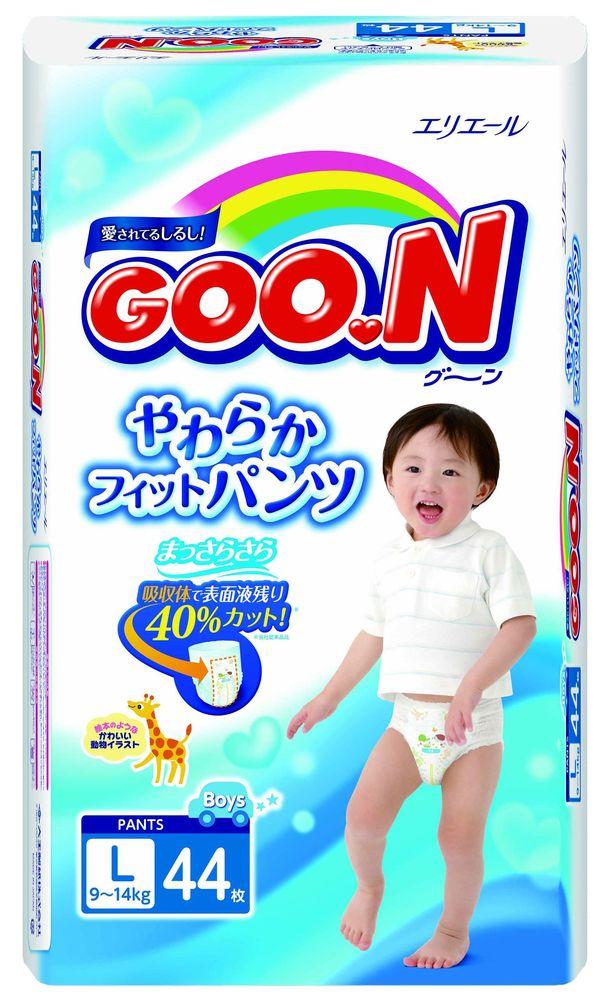 """Подгузники-трусики """"GOO.N (9-14 кг) L"""" 44 штуки в упак., для мальчиков"""