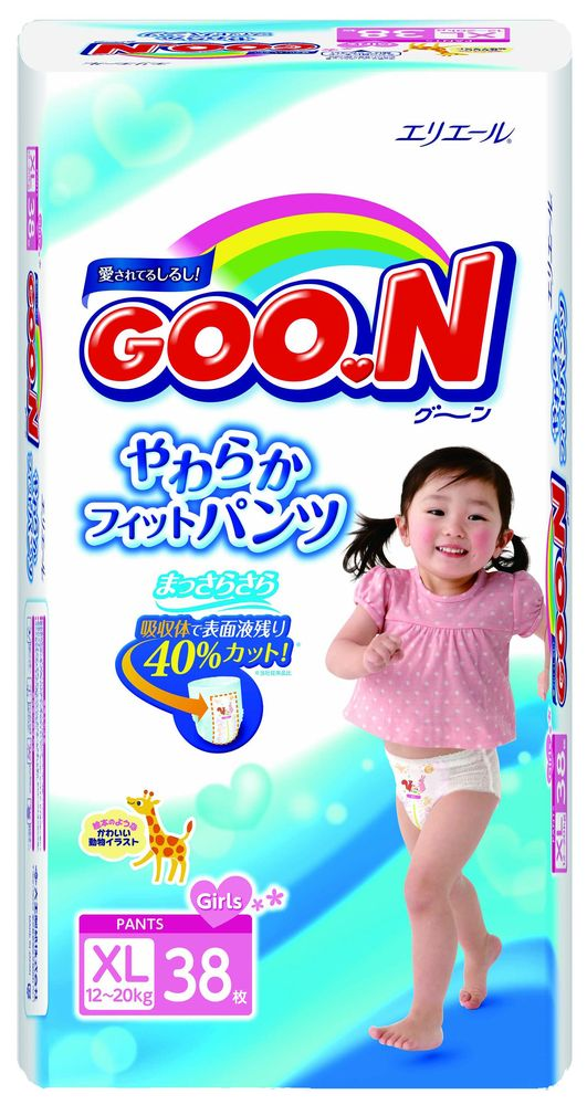 """Подгузники-трусики """"GOO.N (12-20 кг) XL"""" 38 штук в упак., для девочек"""