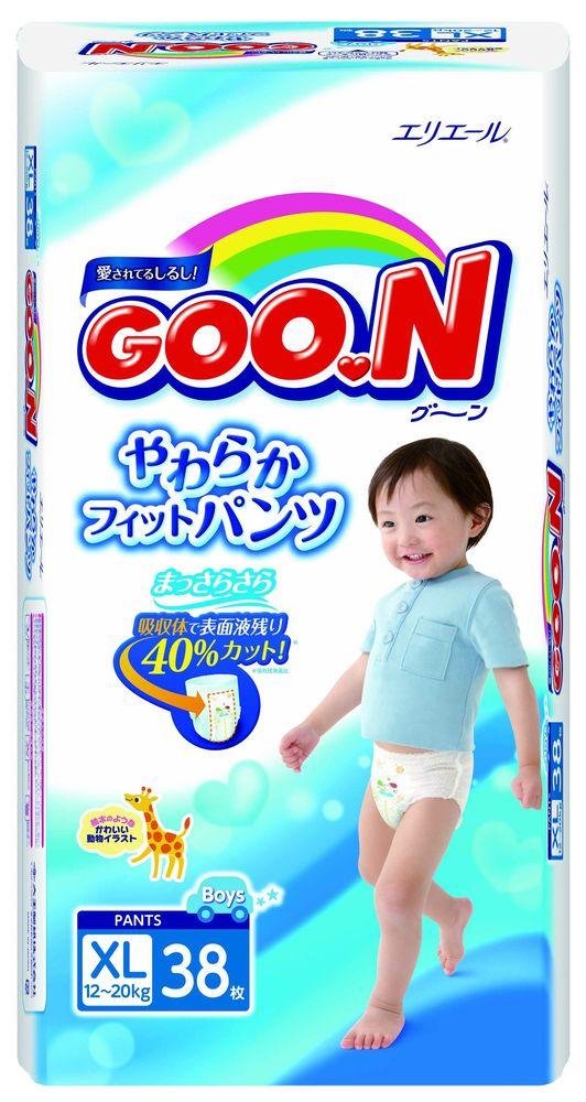 """Подгузники-трусики """"GOO.N (12-20 кг) XL"""" 38 штук в упак., для мальчиков"""