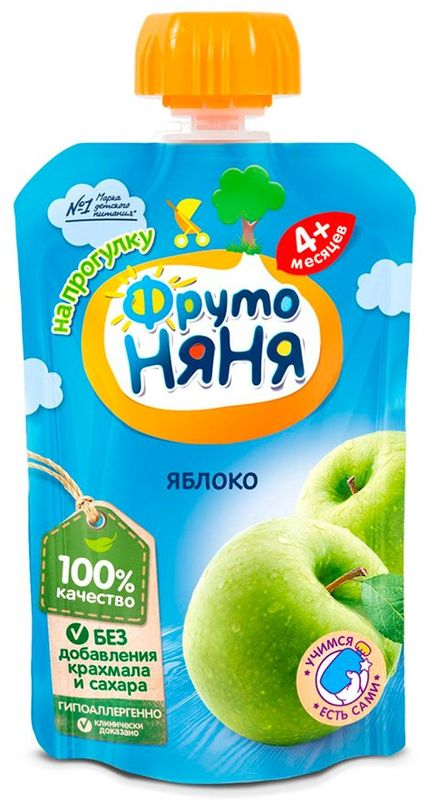 """Пюре """"Яблоко натуральное"""" (гипоаллергенное, без сахара) 90,0 """"ФрутоНяня"""" (пауч-упаковка)"""