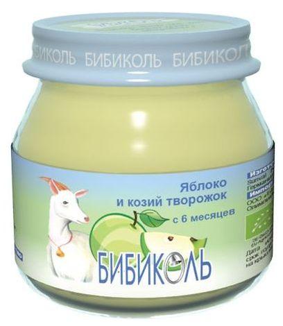 """Пюре """"Яблоко и козий творожок"""" 80,0 (без сахара, биоорганический продукт) """"Бибиколь"""""""