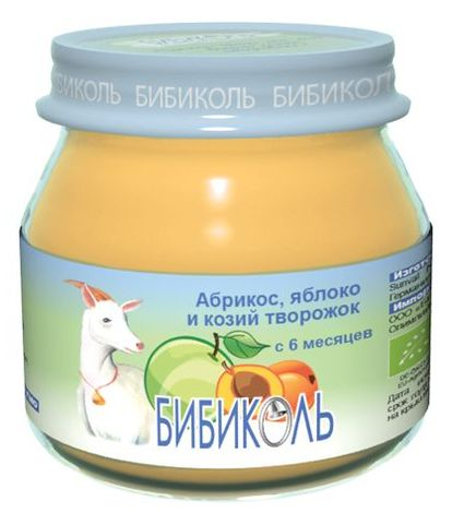 """Пюре """"Абрикос, яблоко и козий творожок"""" 80,0 (без сахара, биоорганический продукт) """"Бибиколь"""""""