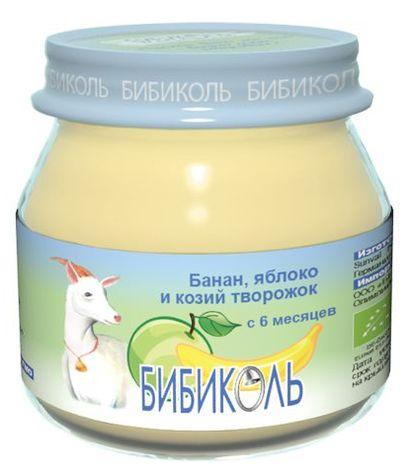 """Пюре """"Банан, яблоко и козий творожок"""" 80,0 (без сахара, биоорганический продукт) """"Бибиколь"""""""