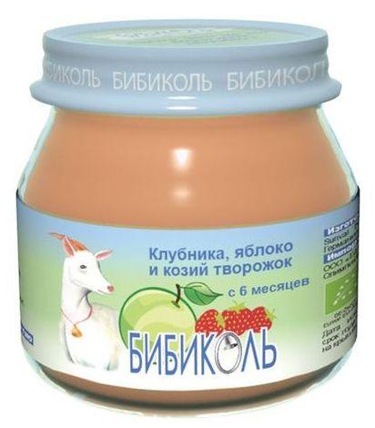 """Пюре """"Клубника, яблоко и козий творожок"""" 80,0 (без сахара, биоорганический продукт) """"Бибиколь"""""""