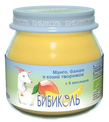 """Пюре """"Манго, банан и козий творожок"""" 80,0 (без сахара, биоорганический продукт) """"Бибиколь"""""""