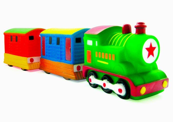 """Набор игрушек для ванны """"Паровозик с вагонами"""" (с пищалкой, 3 штуки), 07419, """"ПОМА"""""""