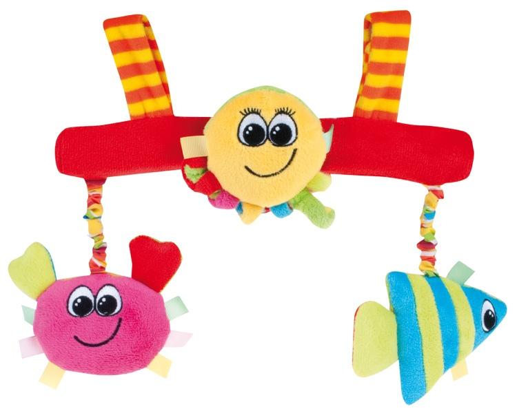 """Погремушка на коляску (мягкая погремушка из плюша с тремя игровыми элементами (крабик, рыбка и осьминог), включающими интерактивные компоненты (""""хруст"""", """"писк"""", """"погремушка""""), дизайн """"Разноцветный океан""""), 68/012, """"Canpol babies"""""""