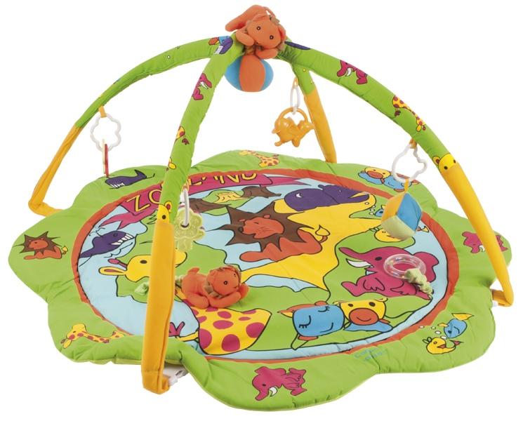 """Коврик для игры (утепленный коврик с интерактивными игровыми элементами, стимулирующими развитие визуально-моторной координации и слуха ребенка, дизайн """"Зоопарк""""), 2/260, """"Canpol babies"""""""