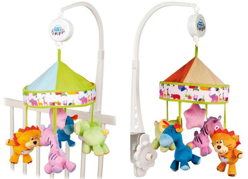 """Музыкальная карусель """"Веселое сафари"""" (механическая, с плюшевыми стилизованными фигурками зверят (4 штуки), стимулирует развитие визуальной координации и слуха ребенка), 2/987, """"Canpol babies"""""""