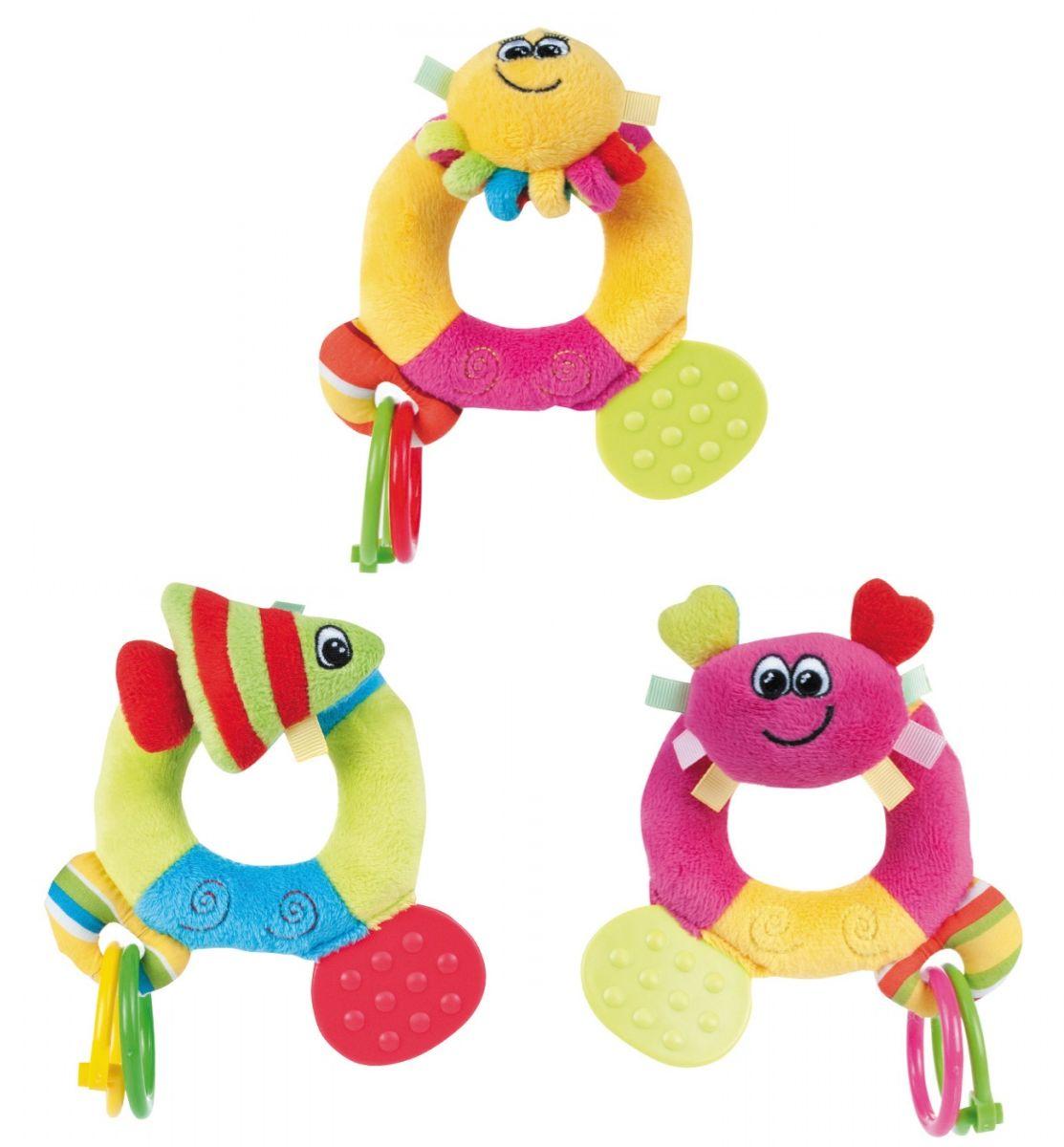 """Мягкая игрушка с прорезывателем """"Цветной океан"""" (плюшевая игрушка с игровыми элементами и встроенной погремушкой, дизайн """"Крабик"""", """"Рыбка"""", """"Осьминог""""), 68/015, """"Canpol babies"""""""