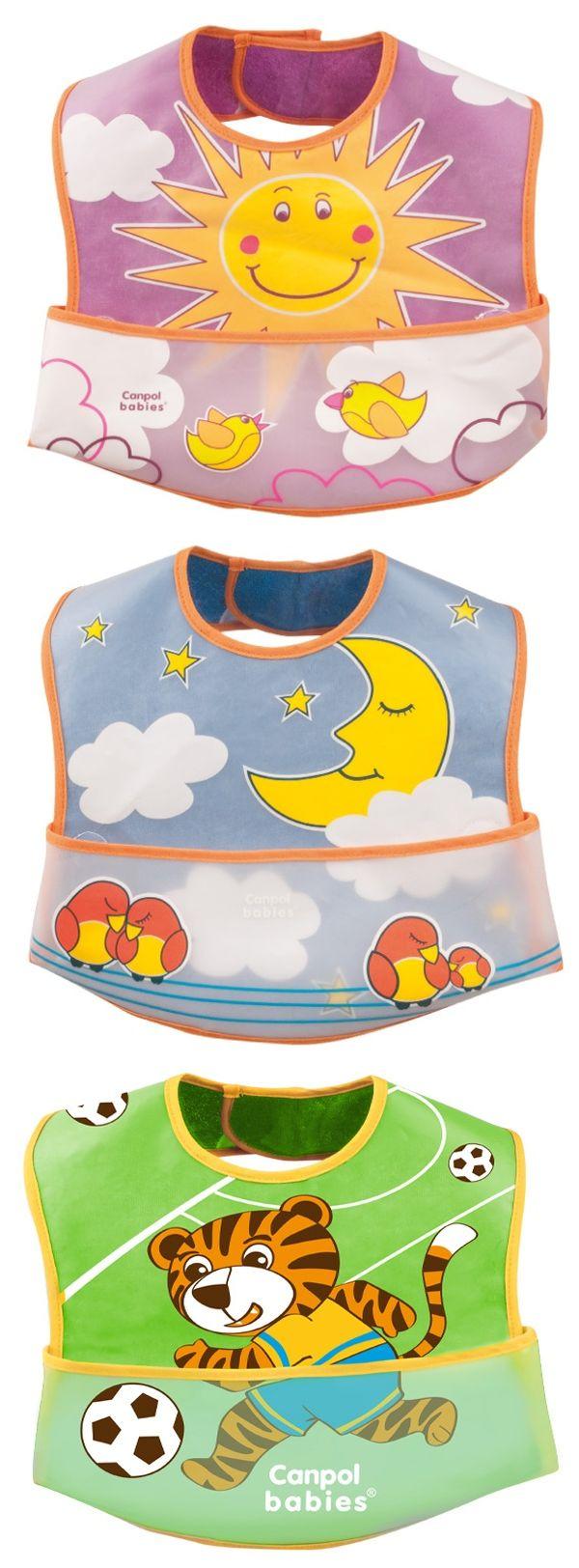 """Нагрудник хлопчатобумажный (двухслойный, внутренняя сторона - хлопок, наружная - PEVA (полиэтиленвинилацетат), не содержит ПВХ), на липучке, с рисунком и карманом для остатков пищи во время кормления ребенка), 15/112, """"Canpol babies"""""""